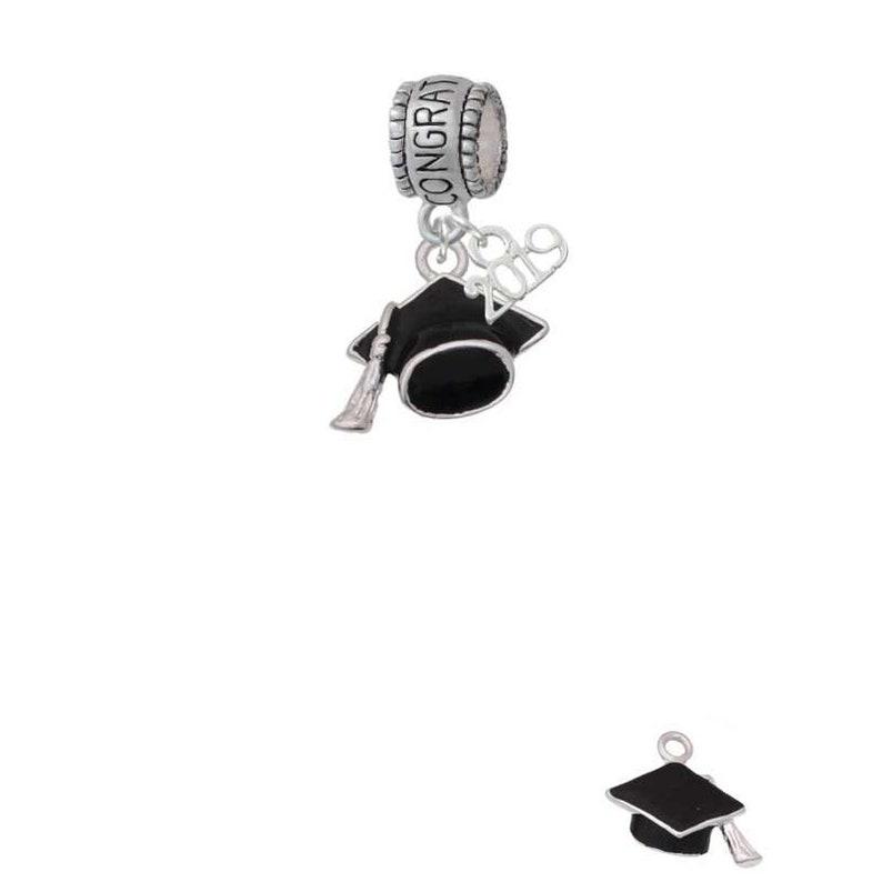 Black Graduation Hat Congratulations with 2019 Year Large Hole Beads,Graduation Charm,Bead Charm BH-C6309-B1310-C6023 Graduation Beads