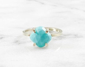 Turquoise Cushion Cut Prong Setting Ring (Gold Sterling Silver Rose Gold December Birthstone Gemstone  Mothers Day Gifts Under 50)