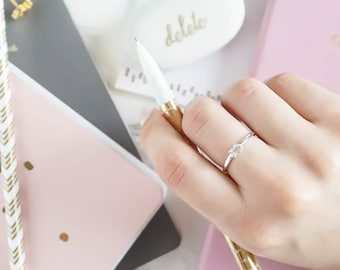 Herkimer Diamond Thick Ring (Gold Sterling Silver Rose Gold Raw Quartz Bridal Party Bridesmaid Alternative Engagement Wedding Gift)