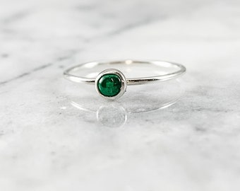 emerald ring, may gemstone, birthstone jewelry, green bridal jewelry, rose gold ring, silver ring, stacking ring, gift for her