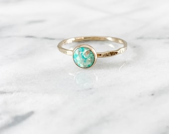 Teal Opal Gemstone Ring - ONE RING (Gold Rose Gold Silver October Birthstone Stacking Ring Bridesmaid Wedding Gift for her under 50)