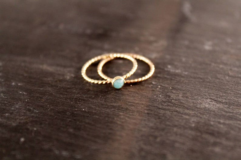 Gold Filled Rope Gemstone Ring Personalized Bridesmaid Birthstone Wedding Nautical Twist  Gift for Her Gifts Under 30