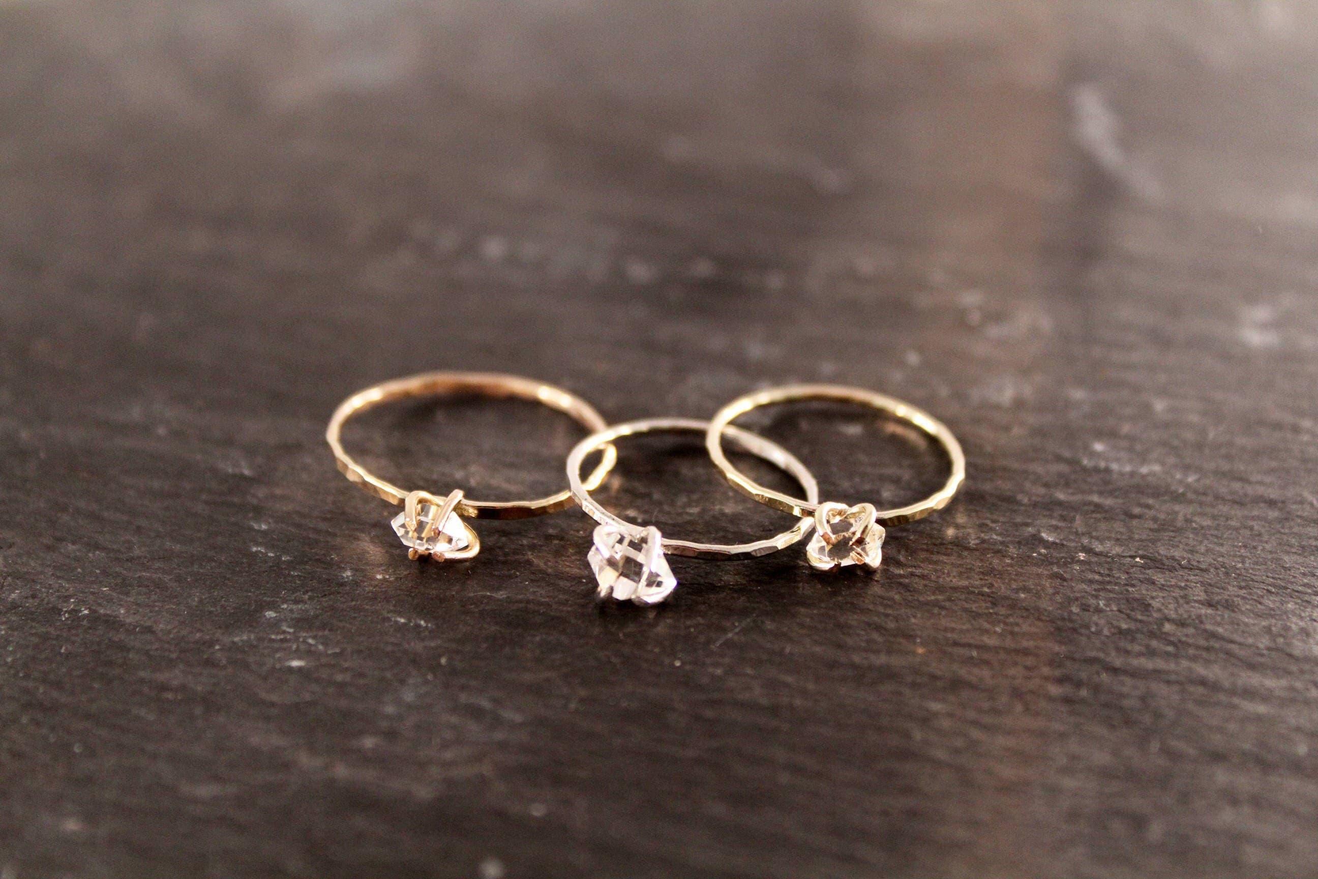 Herkimer Diamond Hammered Ring Gold Sterling Silver Rose