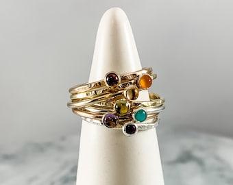 chakra ring, stacking ring, chakra jewelry, rainbow ring, healing jewelry, metaphysical jewelry, alignment ring, birthstone jewelry