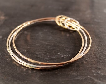 Hammered Mixed Metal Bangle Trio  (Rose Gold Sterling Silver Gold Bracelet Bangles Bridesmaid Wedding Gift for her Under 50)