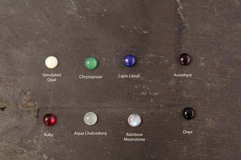 Gold Sterling Silver Rose Opal Onyx Aqua Chalcedony Chrysoprase Moonstone Ruby Amethyst Lapis Lazuli Gemstone Stud Bezel Earrings