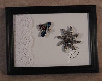 Framed Art Picture made from Upcycled Vintage Flower Pin and Enameled Insect Pin , Canvas Back