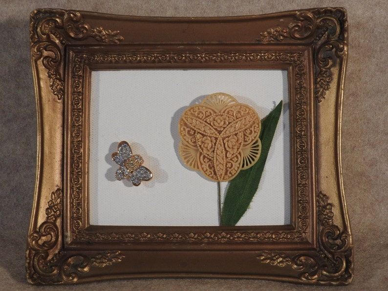 Canvas Back Framed Art Picture made from Upcycled Vintage Flower Pin and Rhinestone Insect Pin
