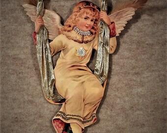 Vintage Swinging Angel Christmas Winter Ornament