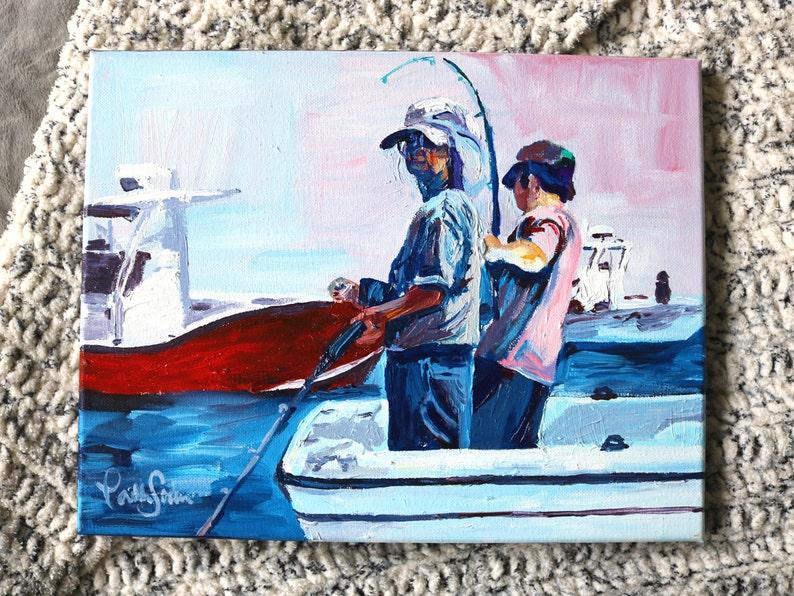 Original Art Acrylic Painting Gone Fishin on image 0