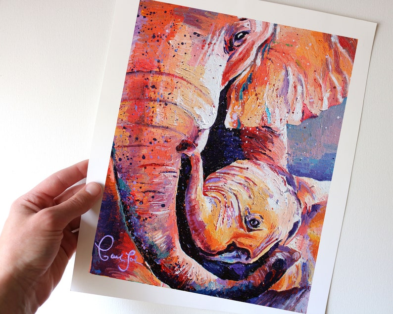 Colorful Elephant Art Print from my Original Acrylic Painting image 0