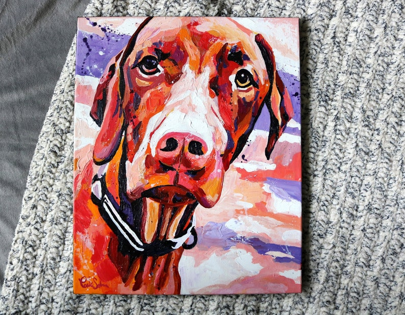 Original Vizsla Dog Acrylic Painting on 16x20 image 0