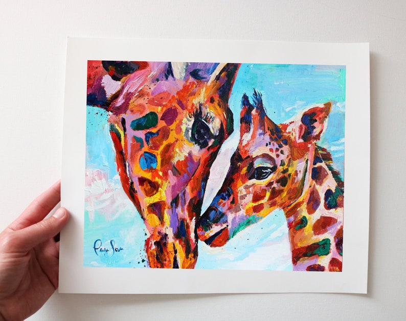 Colorful Giraffe Art Print from my Original Acrylic Painting image 0