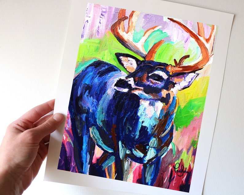 Colorful Deer Art Print from my Original Acrylic Painting image 0
