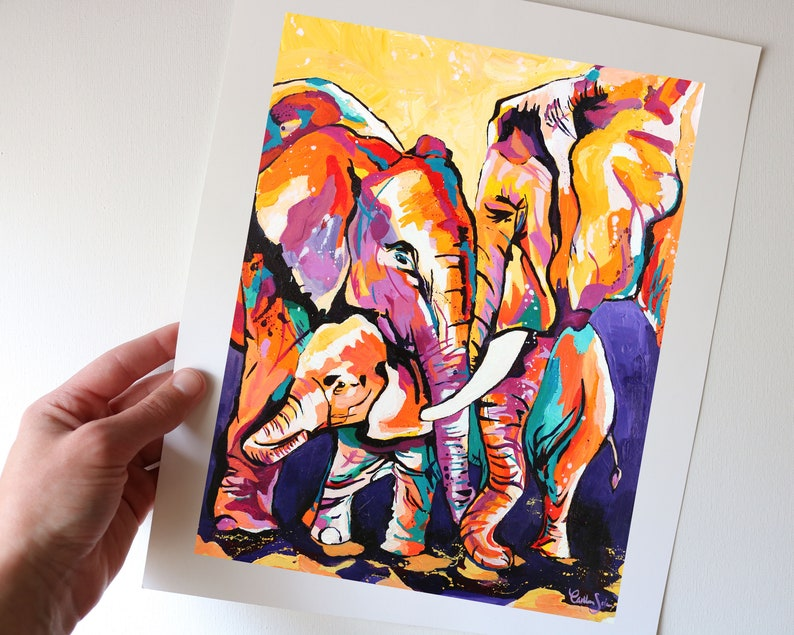 Colorful Elephant Family Art Print from my Original Acrylic image 0