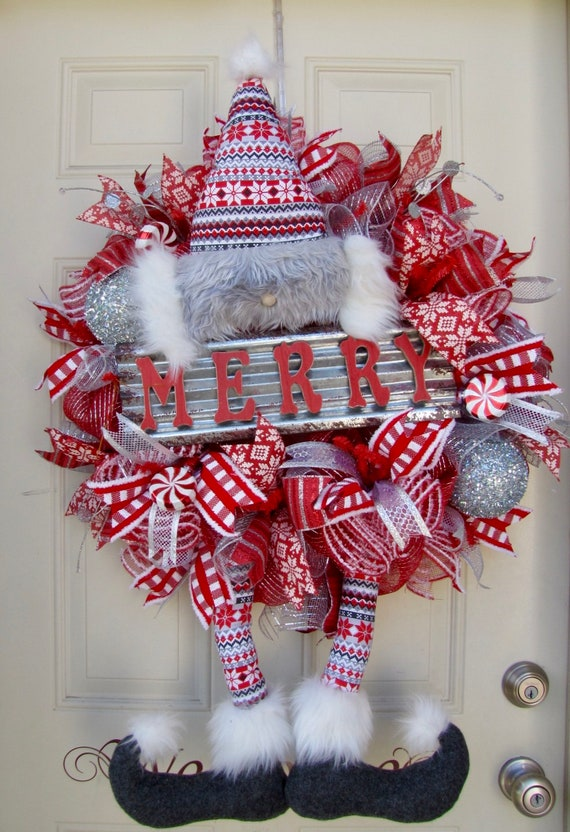 Red And White Christmas Wreath.Elf Christmas Wreath Red And White Christmas Wreath Holiday Wreath Deco Mesh Wreath Front Door Wreath