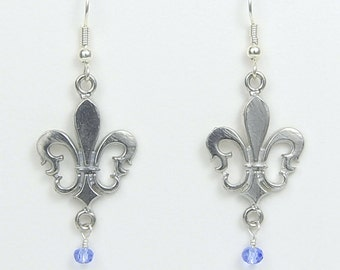 Fleur de Lis Earrings -  Handcrafted Pewter Made in USA - Trinity, Saints, New Orleans, Louisiana, St Louis, French Royalty, flower-de-luce