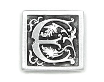 Antique Finished Letter E Initial Pin with Magnetic Back Closure - No holes in Clothes - Handcrafted Pewter USA Monogram Name Personalized