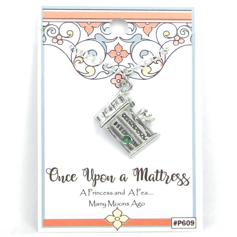 Once Upon A Mattress inspired Princess and the Pea Necklace Pewter Cast Director and Fan of Musical Theater Gift Crew Handmade in USA