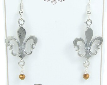 Fleur de Lis Earrings -  Handcrafted Pewter Made in USA - Trinity, Saints, New Orleans, Lousiana, St Louis, French Royalty, flower-de-luce