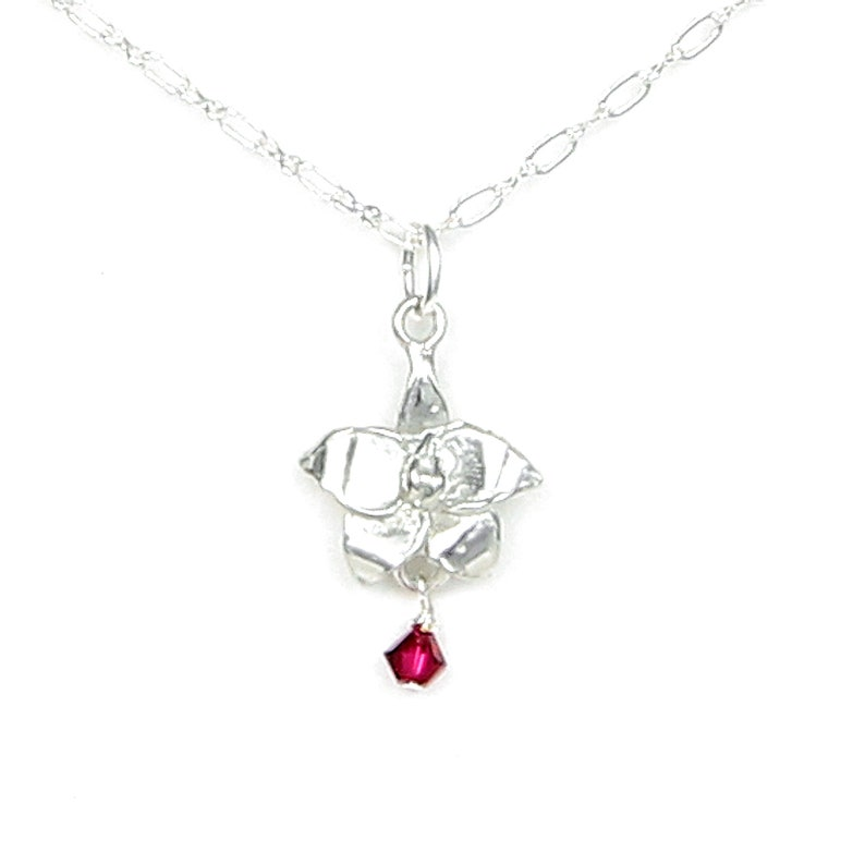 Gift Packaged for Birthday Wedding Handcrafted Pewter Made in USA July Flower Larkspur Necklace with Ruby Red Birthstone Colored Crystal