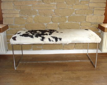 Cowhide Bench, Stainless Steel Frame