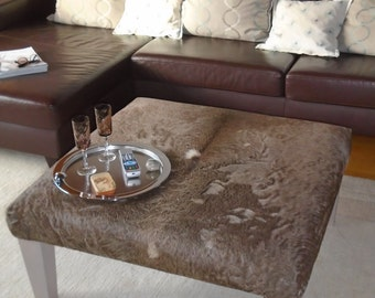 Cowhide Coffee Table, Real Cowhide Tablestool, Upholstered Table, Ottoman,  Side Table,