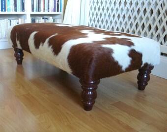 cowhide footstool, upholstered stool, ottoman, genuine cowhide