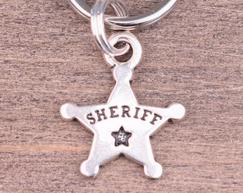 Sheriff Star Badge 925 Solid Sterling Silver European Dangle Bead Charm euro
