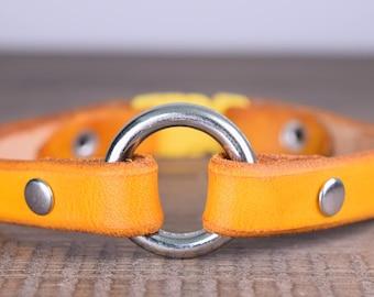 Breakaway Leather Dog Tag Collar - Greyhound Tag Collar - Sighthound Tag Collar - Whippet Tag Collar - Break Away Dog Collar - Large Ring