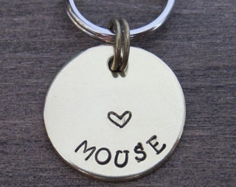 Small Brass Pet ID Tag - Dog Tag - Cat Tag - Bridle Tag - Hand Stamped Pet Tag