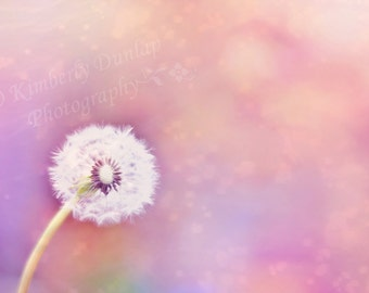 Dandelion Sparkle Print {Pink Peach Large Fluffy Flower Artwork Wall Art Canvas Picture Photo Photograph Baby Baby's Girl's Nursery Decor}