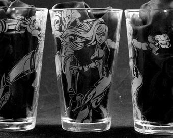 Samus and Power Suit Laser Engraved Pint Glass