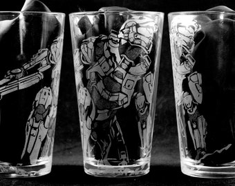 Halo Master Chief Laser Engraved Pint Glass