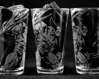 Wolverine Laser Engraved Pint Glass