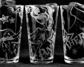 Panther Laser Engraved Pint Glass
