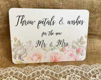 Blossom floral confetti wedding sign personalised