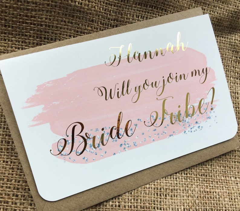 Watercolour Foil Bridesmaid Maid Of Honour Flower Girl Card Etsy