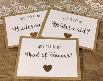 Gold, Rose Gold or Silver Heart Will you be my Bridesmaid Cards