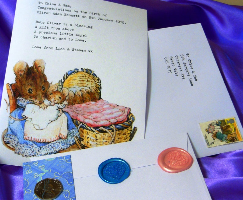 Beatrix Potter coin with Personalised typed letter. New Baby Gift