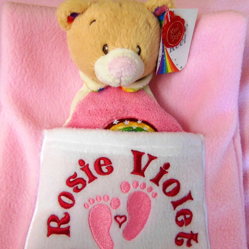 PERSONALISED BABY PRAM BLANKET with EMBROIDERED TEDDY BEAR AND YOUR BABY/'S NAME