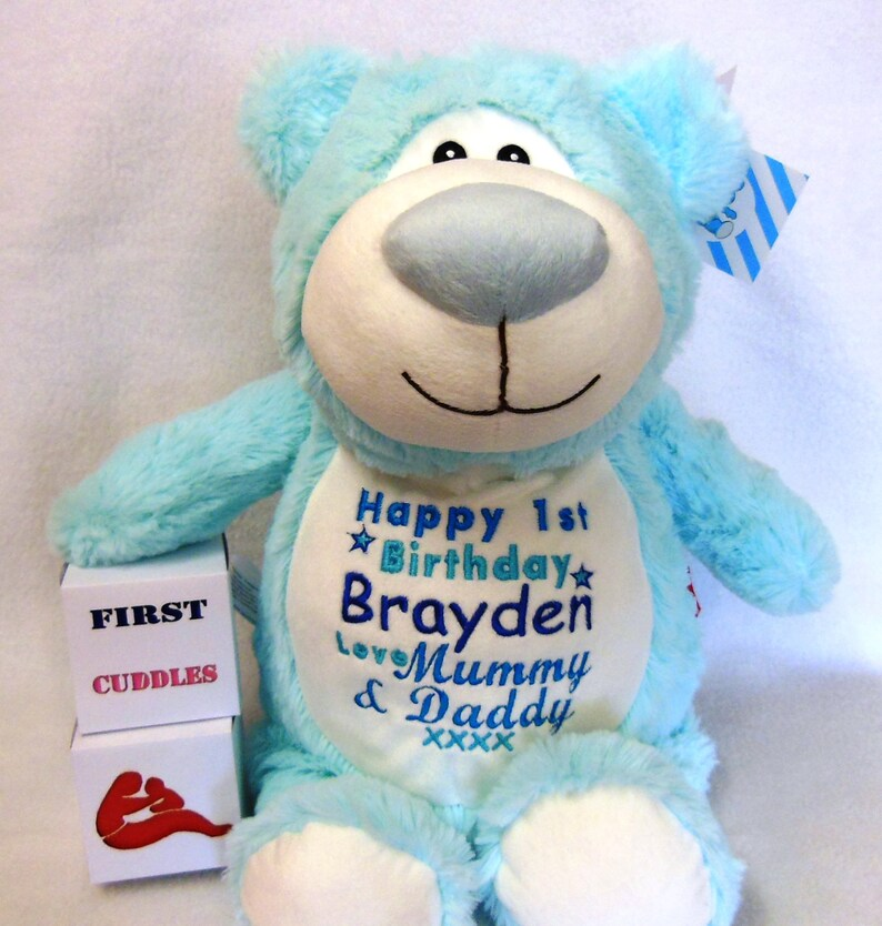 New Born Baby Personalised Cubbie Rainbow Bear New Baby Teddy Bear Christenings Birthday or Light Blue or Light Pink Customized.