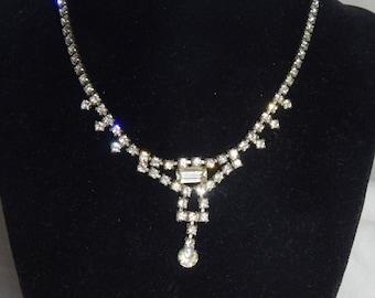 Vintage Clear Rhinestone Necklace Silver Tone Vintage Kramer Rhinestone Necklace Signed