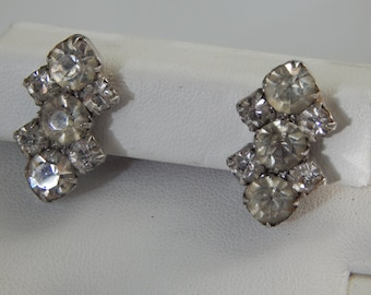 Vintage Clear Rhinestone Earrings, Vintage Screwback Rhinestone Earrings, Clear Rhinestone Earrings