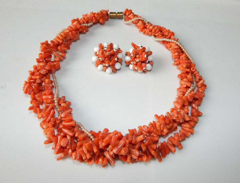 Coral Branch Necklace and Earrings Set Branch Coral Bead Necklace and Orange Coral Clip On Earrings Set