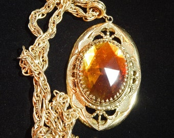 Vintage Whiting and Davis Necklace Gold Tone Brown Orange Amber Color Stone Statement Necklace Signed