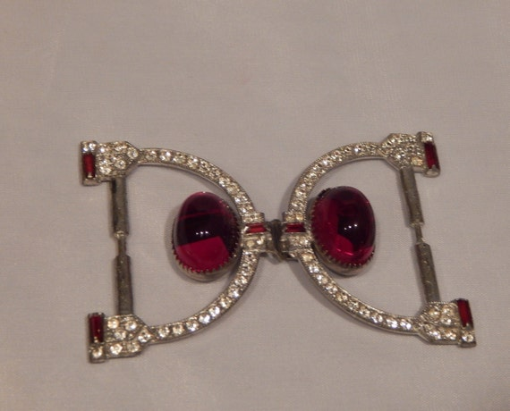 Vintage Belt Buckle Silver Clear Rhinestone Red Rh