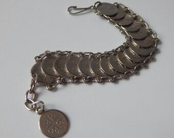 Vintage Souvenir Coin Bracelet Silver Tone Cross Souvenir Coin Bracelet