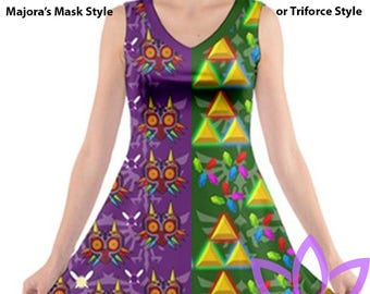Majora's Mask or Triforce V-neck dress legend of zelda link
