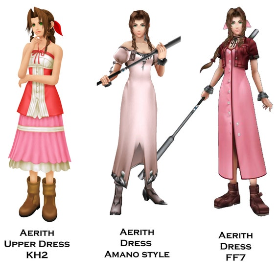 aerith gainsborough inspired dresses kh2 ff7 amano etsy